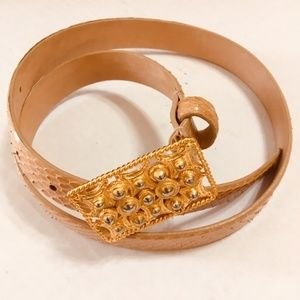 Carlisle Women Snakeskin Leather Gold Tone Belt S